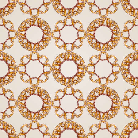 Seamless abstract floral pattern in the form of vines on beige background