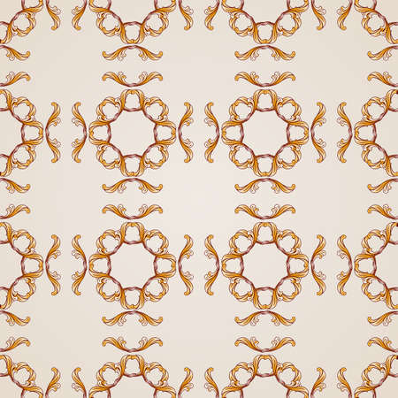 Seamless abstract floral pattern in the form of mesh from golden vines Illustration