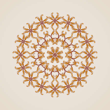gold circle: Abstract floral pattern element in the form of gold circle