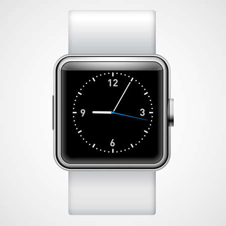 wristwatch: Smart  analog wrist watch with black square  screen on the white background