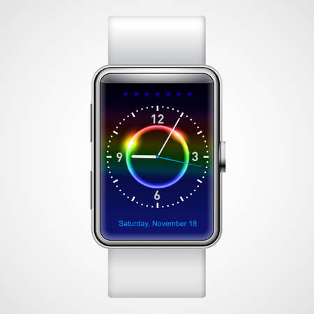wrist watch: Smart  analog wrist watch with multi-color screen on white background