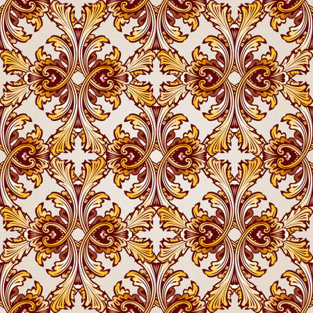 saturated: Very saturated  seamless golden abstract  floral pattern Illustration