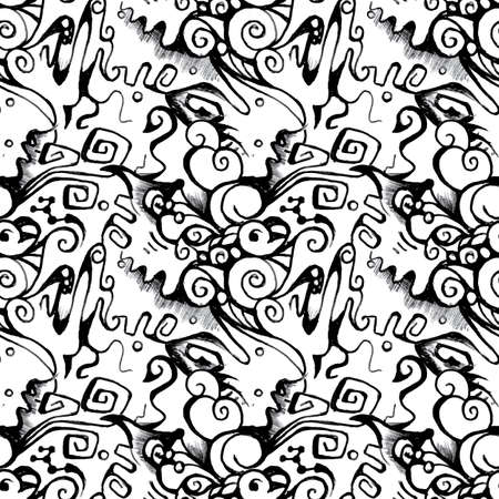 scetch: Abstract seamless neformal monochrome pattern on the white background Illustration