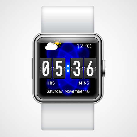 wrist watch: Smart  digital wrist watch with square screen  on  white background Illustration