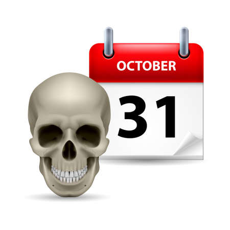 31th: Halloween concept with grinning skull and calendar on 31th of October over white