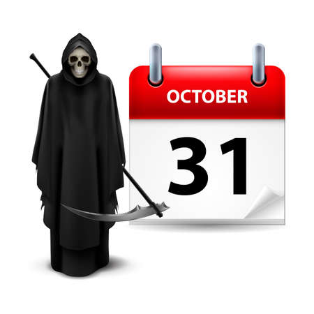 Halloween concept with Grim Reaper and calendar on 31th of October over white Vector