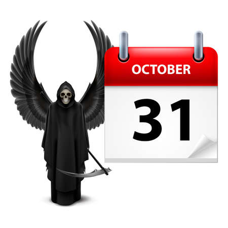 robe: Grim Reaper with wings and calendar on 31th of October over white. Halloween concept