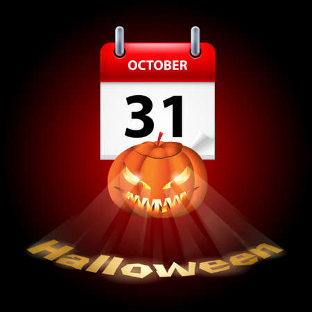 31th: Halloween concept with shining spooky pumpkin and calendar on 31th of October Illustration