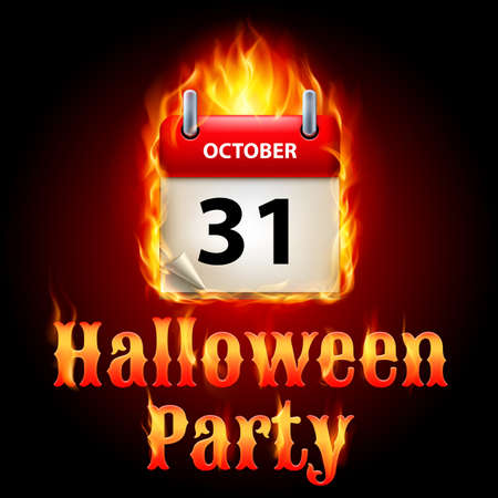 31th: Halloween party invitation design with flaming calendar on 31th of October Illustration