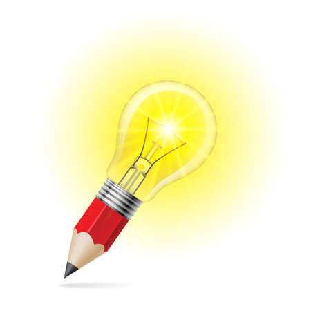 shining light: L�piz de plomo con el brillo de la bombilla en su parte superior. Idea y concepto de la creatividad Vectores