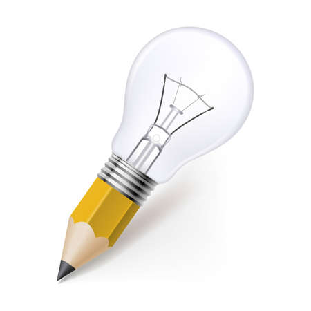 filament: Lead pencil with light bulb on its top. Idea and creativity concept Illustration