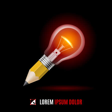 creativity concept: Lead pencil with light bulb on its top. Idea and creativity concept on black Illustration