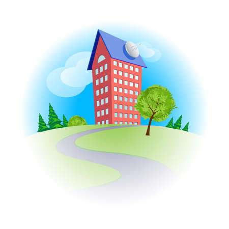appartment: Cute cartoon multistorey house among trees in sunny day Illustration