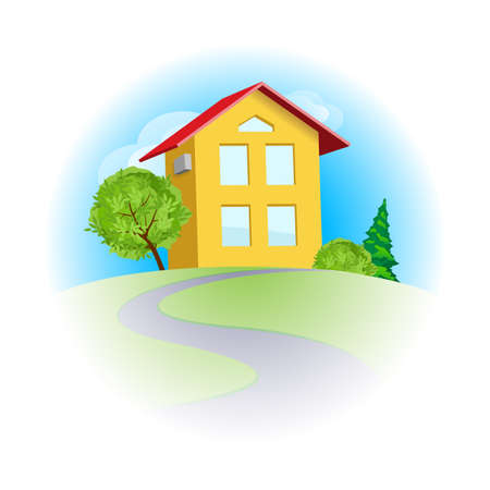Yellow cartoon two-storeyed house among trees in sunny day Vector