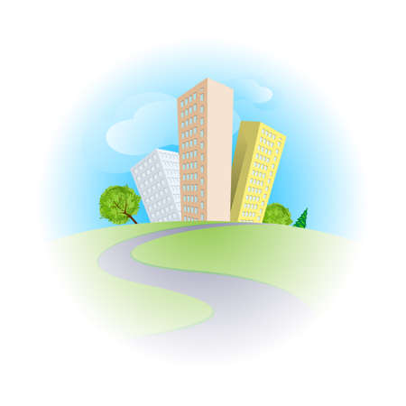 multistorey: Cute cartoon skyscrapers among trees in sunny day Illustration