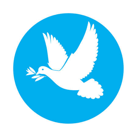 beak: Flat icon of white dove with olive branch in its beak