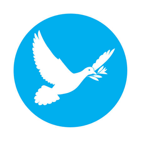 beak: Flat icon of white dove of peace with olive branch in its beak Illustration