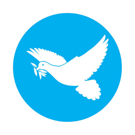 Flat icon of white dove with olive twig in its beak