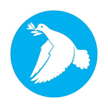 beak: Flat icon of dove of peace with olive branch in its beak