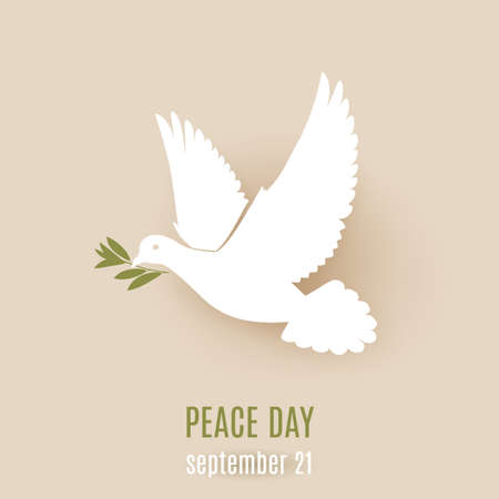 Peace day design with flying white dove with green twig in its beak Illustration
