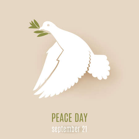beak: Design for Peace day with flying white dove with green twig in its beak