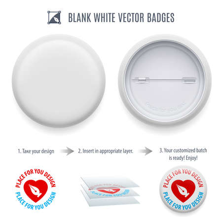 plain button: Blank white badge template with copy space for your design