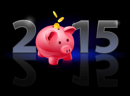 New Year 2015: metal numerals with piggy bank instead of zero having weak reflection. Illustration on black background. Vector
