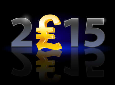 instead: New Year 2015: metal numerals with english pound instead of zero having weak reflection. Illustration on black background. Illustration