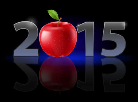 New Year 2015: metal numerals with red apple instead of zero having weak reflection. Illustration on black background. Vector