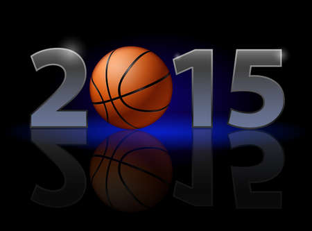 New Year 2015: metal numerals with basketball instead of zero having weak reflection. Illustration on black background. Vector