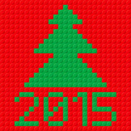 plastic texture: New Year tree and 2015 in plastic construction kit texture on red