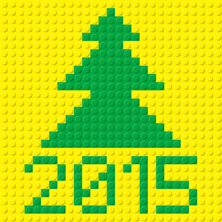 plastic texture: New Year tree and 2015 in plastic construction kit texture on yellow