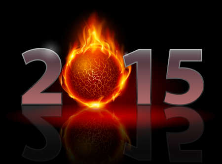 New Year 2015: metal numerals with fire ball instead of zero having weak reflection. Illustration on black background