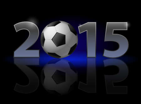 New Year 2015: metal numerals with football instead of zero having weak reflection. Illustration on black background Vector