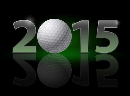 balones deportivos: A�o Nuevo 2015: n�meros de metal con una pelota de golf en lugar de cero teniendo d�bil reflexi�n. Ilustraci�n sobre fondo negro. Vectores