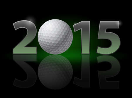 christmas golf: New Year 2015: metal numerals with golf ball instead of zero having weak reflection. Illustration on black background.