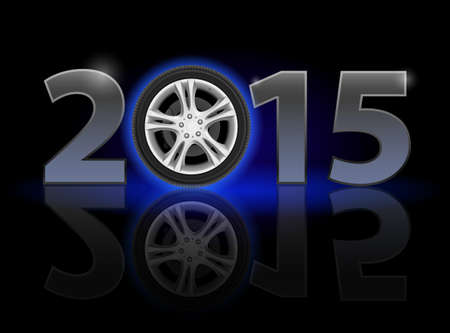 New Year 2015: metal numerals with car wheel instead of zero having weak reflection. Illustration on black background Vector
