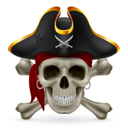Pirate skull in red bandana and cocked hat with crossed bones