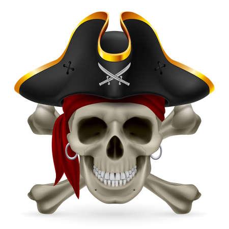 skull and crossed bones: Cr�neo del pirata en el pa�uelo rojo y sombrero de tres picos con huesos cruzados