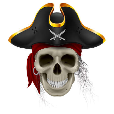 cocked: Pirate skull in red bandana and cocked hat with hair tuft