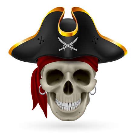 sombrero pirata: Cráneo del pirata en el pañuelo rojo y sombrero de tres picos Vectores