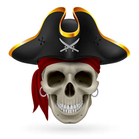 Pirate skull in red bandana and cocked hat Illustration