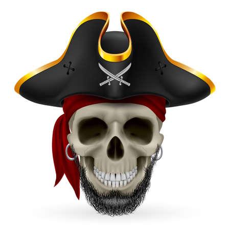 sombrero pirata: Calavera pirata barbudo en pañuelo rojo y sombrero de tres picos Vectores