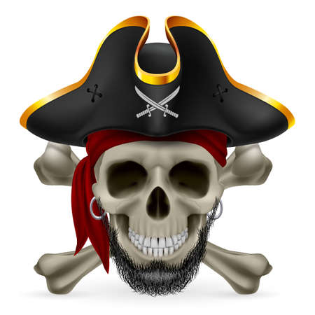 Bearded pirate skull in red bandana and cocked hat with crossed bones