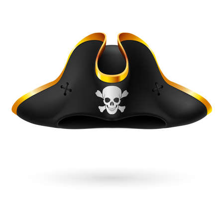 cocked hat: Black cocked hat with pirate symbol of skull and crossed bones Illustration
