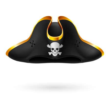 skull and crossed bones: Tricornio negro con el s�mbolo pirata de los huesos del cr�neo y cruzadas