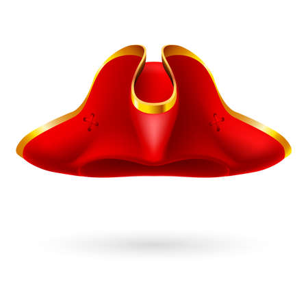 tricorn hat: Realistic red cocked hat with golden edging