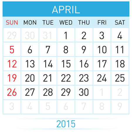 Monthly calendar template for April of year Twenty Fifteen Vector