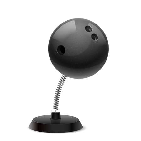 glister: Table souvenir in form of black ball for bowling on spring