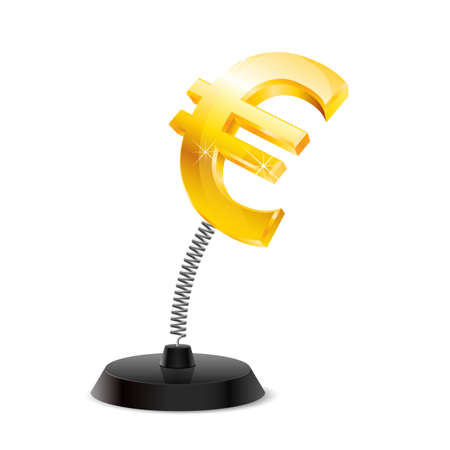glister: Table souvenir in form of glossy euro sign on spring